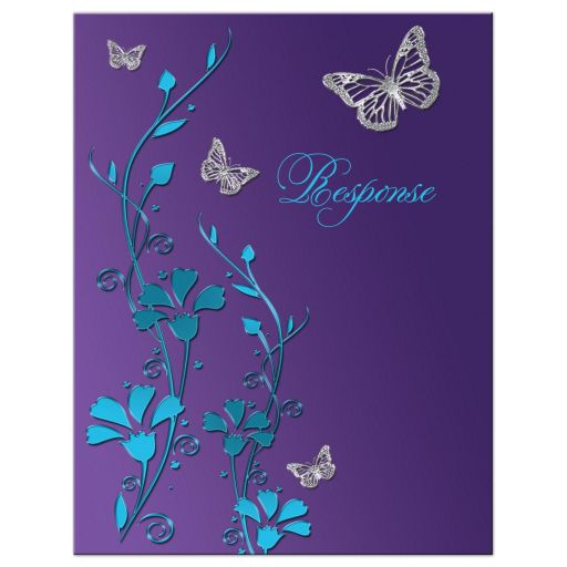 Wedding Response Card | Teal Blue and Purple | Flowers ...