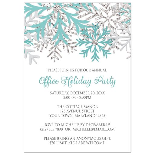 Holiday Party Invitations - Teal Silver Snowflake Winter