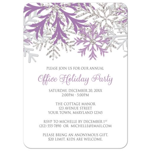 Holiday Party Invitations - Purple Silver Snowflake Winter