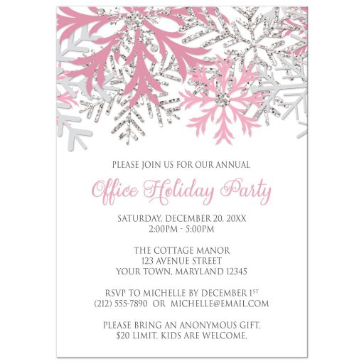 Holiday Party Invitations - Pink Silver Snowflake Winter