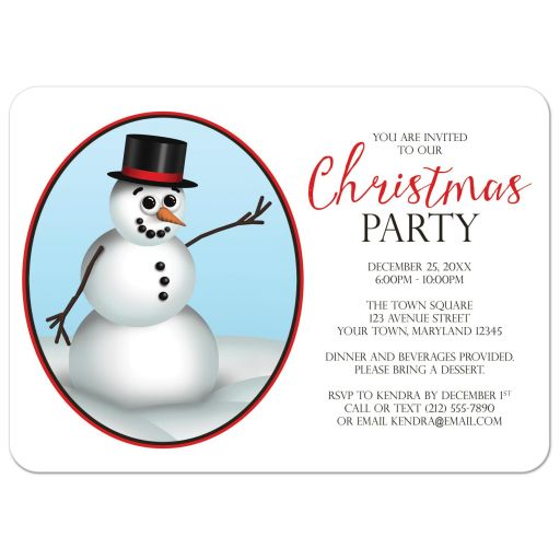 Christmas Party Invitations - Cute Classy Snowman with Top Hat