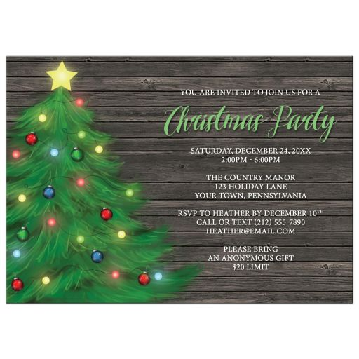 Christmas Party Invitations - Rustic Wood Holiday Tree with Lights