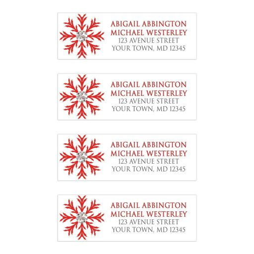 Address Labels - Winter Snowflake Red Silver