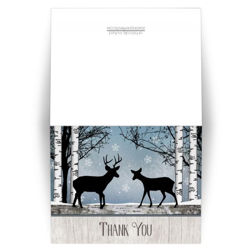 Thank You Cards - Deer Rustic Blue Winter Snowflakes