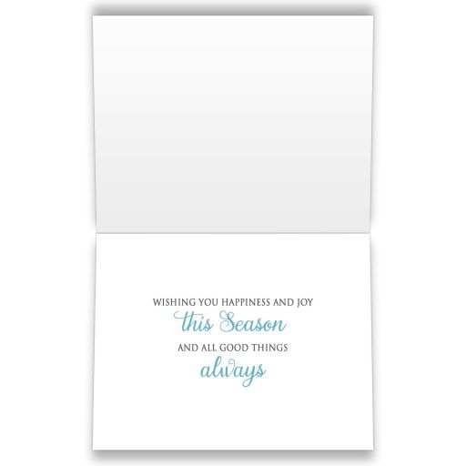 INSIDE Holiday Cards - Winter Snowflake Blue Silver