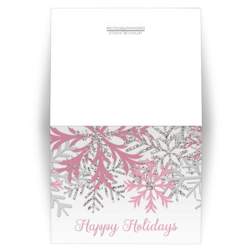 Holiday Cards - Winter Snowflake Pink Silver