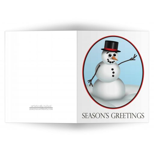 Christmas Cards - Cute and Classy Snowman 'Season's Greetings'