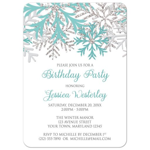 Birthday Invitations - Winter Snowflake Teal Silver