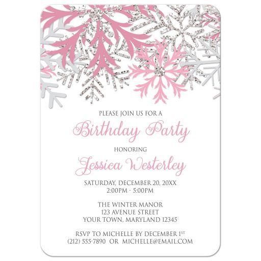 Birthday Invitations - Winter Snowflake Pink Silver