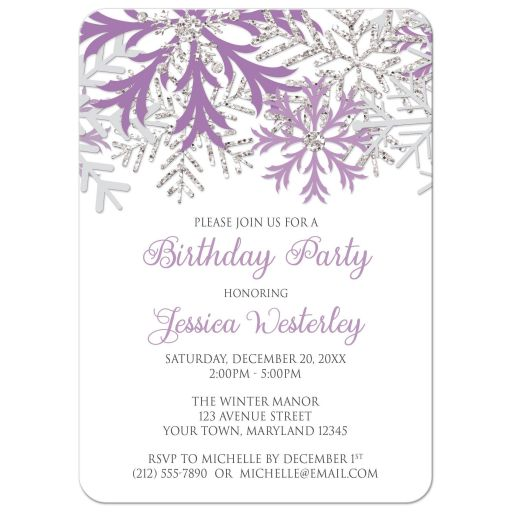 Birthday Invitations - Winter Snowflake Purple Silver