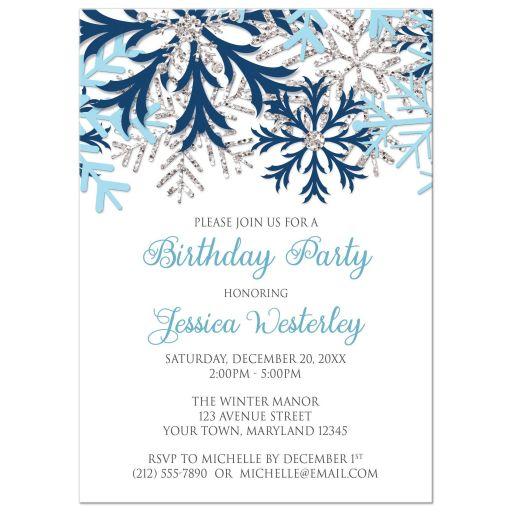 Birthday Invitations - Winter Snowflake Blue Silver