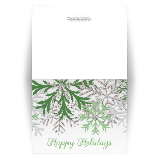 Holiday Cards - Winter Snowflake Green Silver