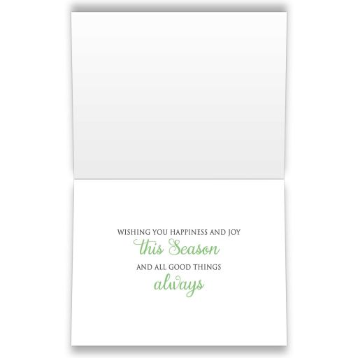 INSIDE Holiday Cards - Winter Snowflake Green Silver