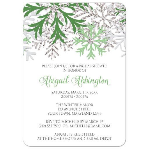 Bridal Shower Invitations - Winter Snowflake Green Silver