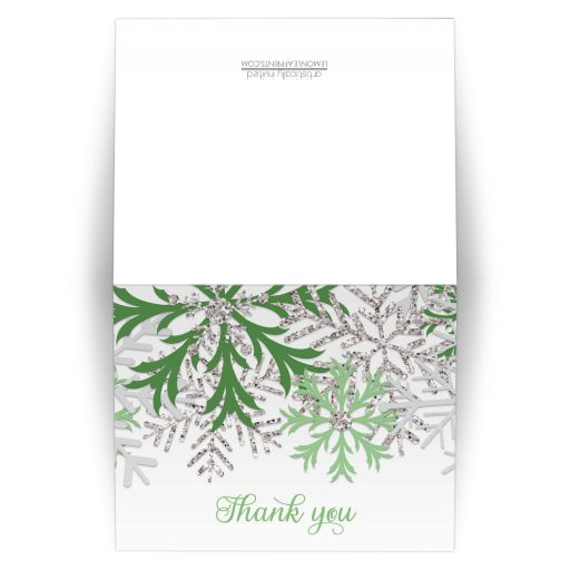 Thank You Cards - Winter Snowflake Green Silver
