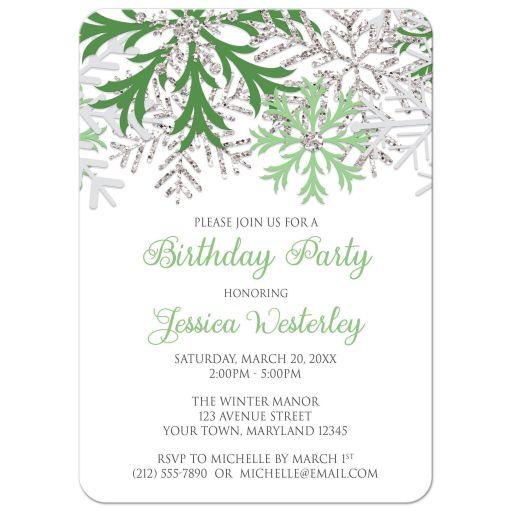 Birthday Invitations - Winter Snowflake Green Silver