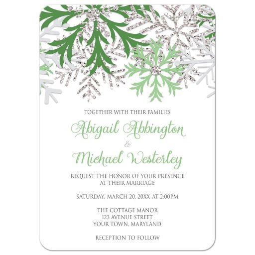 Wedding Invitations - Winter Snowflake Green Silver