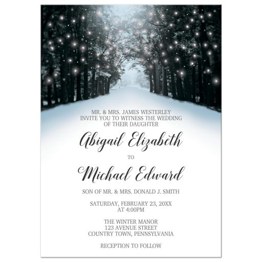 Wedding Invitations - Winter Snowy Road Tree Lights