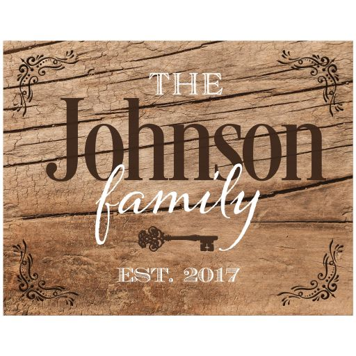Rustic weathered wood look art print is personalized with your family name and year of establishment.