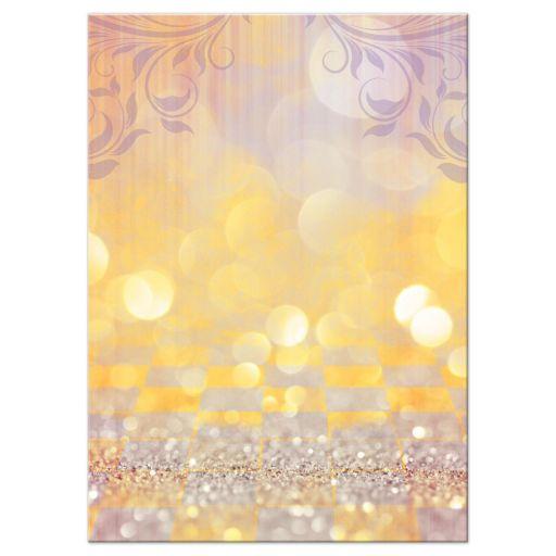 Gold and purple magical ballroom fairy tale Bat Mitzvah reception insert card back