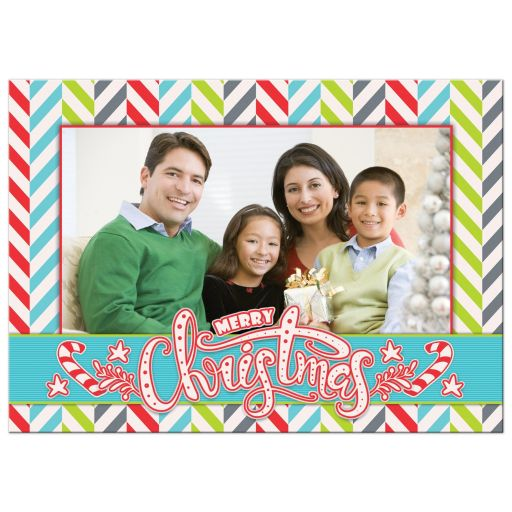 Funky bold, modern, colorful, offbeat, and whimsical Christmas photo greeting card front