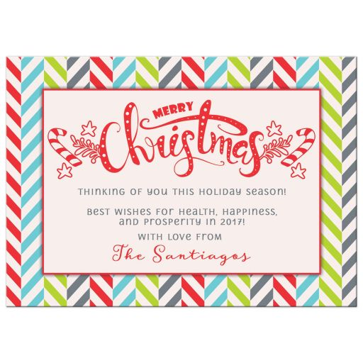 Funky bold, modern, colorful, offbeat, and whimsical Christmas photo greeting card back