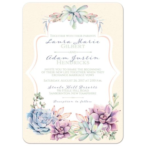 Pastels peach, green, blue, pink and lavender wedding invitation with cacti and succulents.