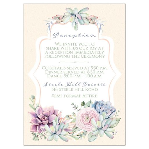 Pastel peach, green, blue, pink and lavender wedding reception and accommodations enclosure card insert with cacti and succulents.