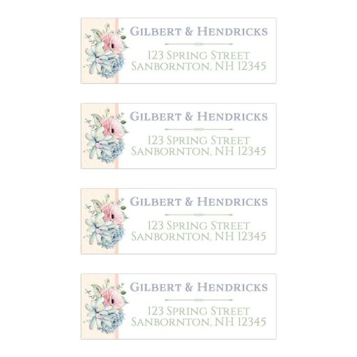 Personalized address labels with a bundle of watercolor succulents in a variety of pastel colors.