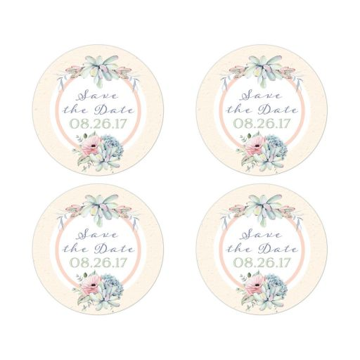 """2"""" round wedding save the date stickers or wedding favor stickers with assorted watercolor succulents."""