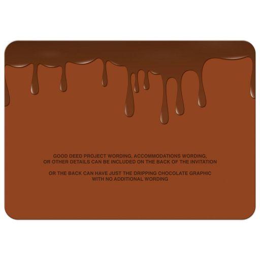 Chocolate golden ticket Bar Mitzvah invitation or golden ticket Bat Mitzvah invitation back