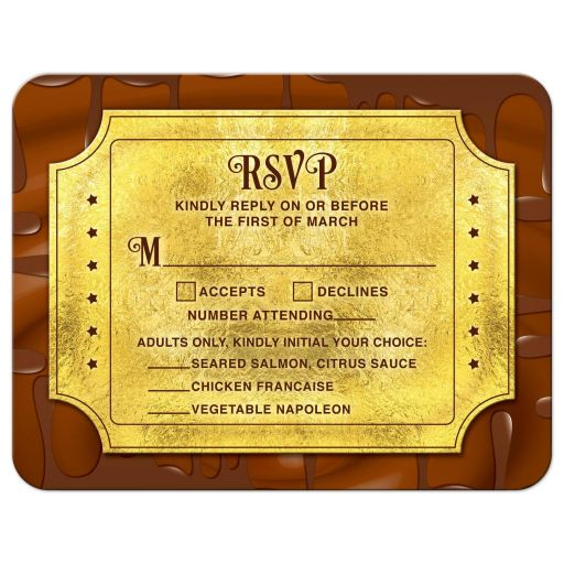​Chocolate golden ticket Bar Mitzvah RSVP card or golden ticket Bat Mitzvah RSVP card front