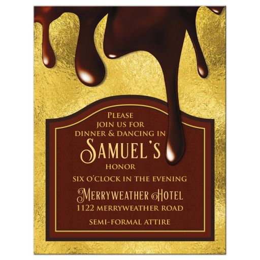Elegant gold and brown chocolate Bar Mitzvah reception card front