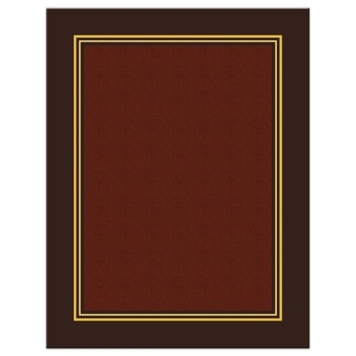 Elegant gold and brown chocolate Bar Mitzvah reception card back
