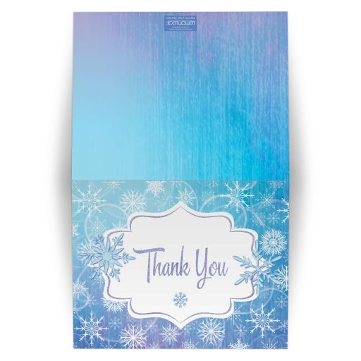​Frozen blue, purple, and white snowflakes winter Bat Mitzvah thank you card.