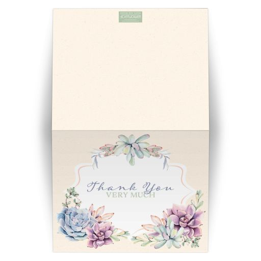 Pastel peach, green, blue, pink and lavender wedding thank you cards with cacti and succulents.