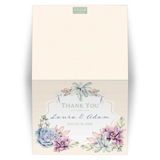 Pastel peach, green, blue, pink and lavender succulents wedding thank you card with cacti and optional photo template.