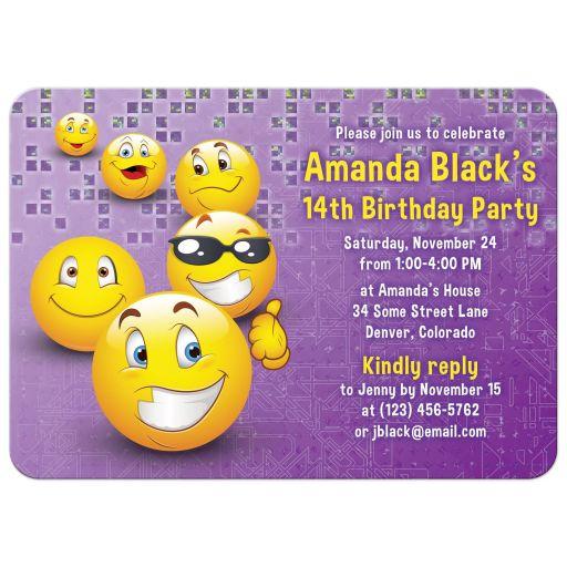 Purple and yellow social media emoji birthday invitation front
