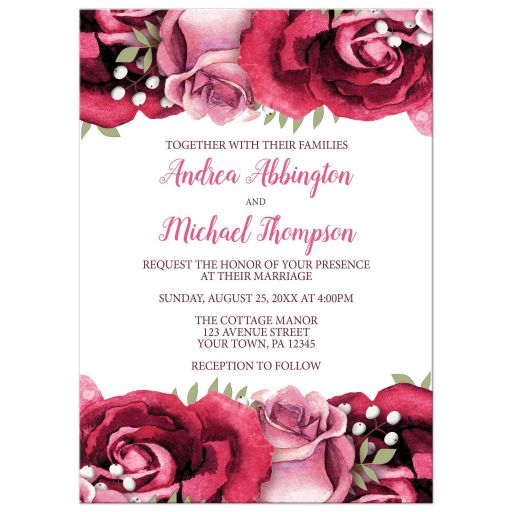 Wedding Invitations - Burgundy Pink Rose White Rustic
