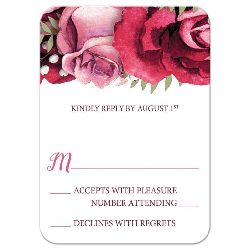 RSVP Reply Cards - Burgundy Pink Rose White Rustic