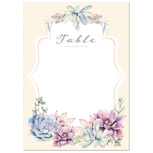 Pastel peach, green, blue, pink and lavender wedding table number card with watercolor cacti and succulents.