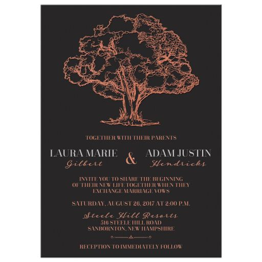 Modern grey wedding invitation with copper foil tree.