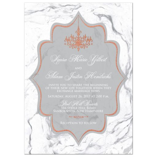 ​Grey and white marble wedding invitation with copper foil chandelier and ornate scrolls and flourish.
