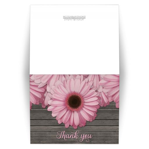 Thank You Cards - Rustic Pink Daisy Brown Wood