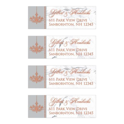 Personalized grey and white marble wedding address labels with copper foil chandelier.