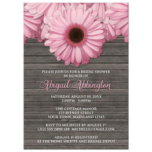 Rustic Daisy Wedding Invitations: Rustic Pink Daisy Brown Wood