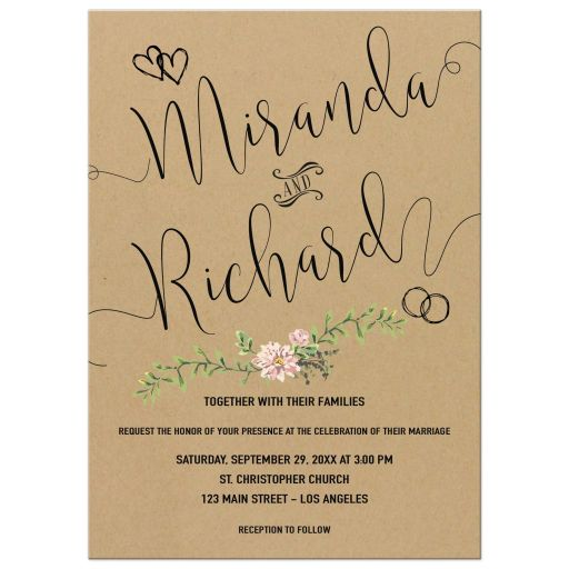 Bohemian Chic Simulated Kraft Paper And Greenery Wedding Invitation