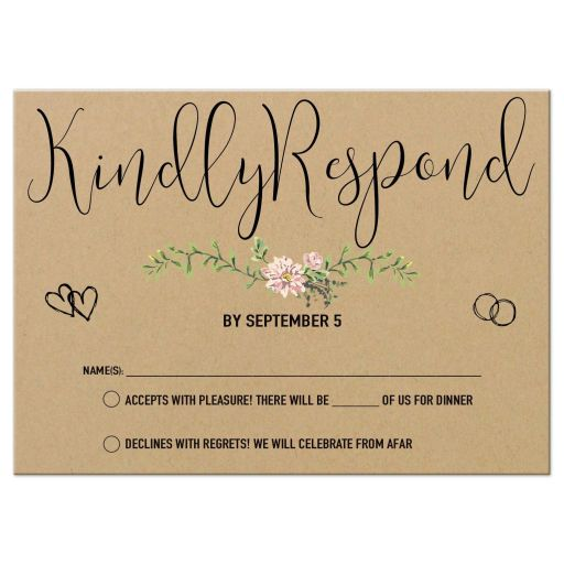 Bohemian Chic Simulated Kraft Paper And Greenery Wedding Response Card