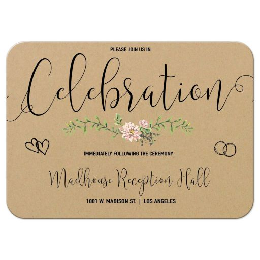 Bohemian Chic Simulated Kraft Paper And Greenery Reception Card