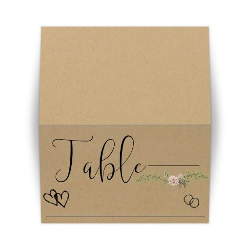 Bohemian Chic Simulated Kraft Paper And Greenery Place Card